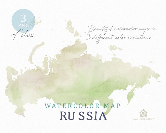 Russia Map, Watercolor Map, Instant Download, Digital Map, Map Clipart, Wall Art, Color Map Clip Art, Custom Map, Watercolor Map