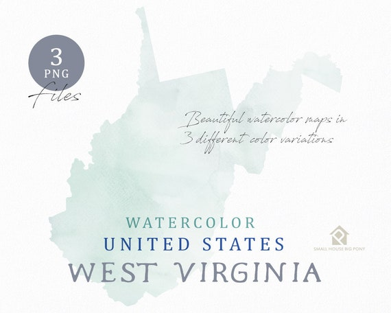 West Virginia Map, Watercolor Map, Digital Map, Map Clipart, Wall Art, Color Map Clip Art, Custom Map, Watercolor Map