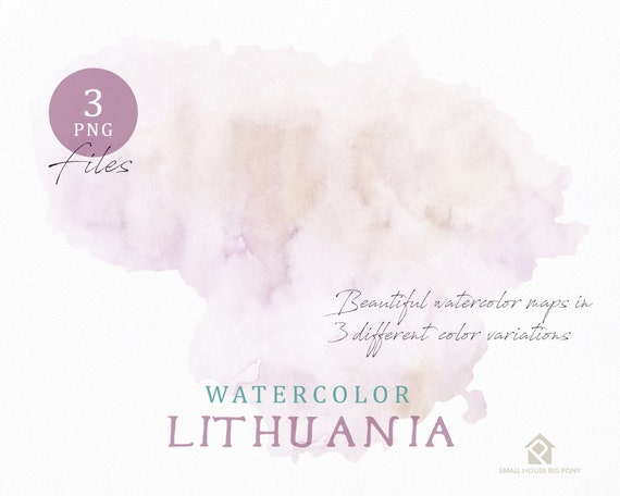 Lithuania Map, Watercolor Map, Instant Download, Digital Map, Map Clipart, Wall Art, Color Map Clip Art, Custom Map, Watercolor Map