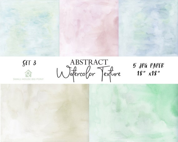 "Watercolor (Abstract) Digital Paper Pack Set 3: ""Watercolor Washes "" background papers in beautiful pastel colors - Commercial Use 18"" x 18"""