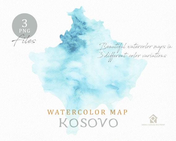 Kosovo Map, Watercolor Map, Instant Download, Digital Map, Map Clipart, Wall Art, Color Map Clip Art, Custom Map, Watercolor Map