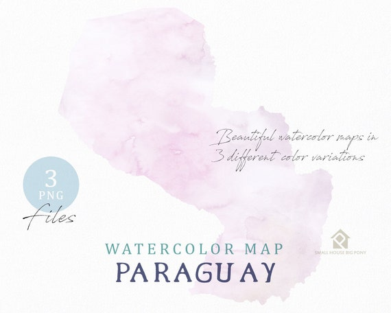 Paraguay Map, Watercolor Map, Instant Download, Digital Map, Map Clipart, Wall Art, Color Map Clip Art, Custom Map, Watercolor Map