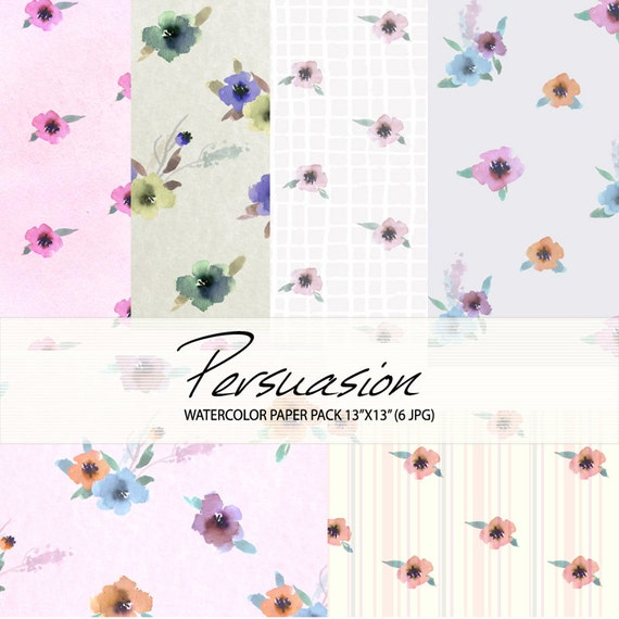 Watercolour Floral Digital Paper Pack: Flowers, Watercolour Clip Art/Flower/Watercolor Paper Pack-Persuasion