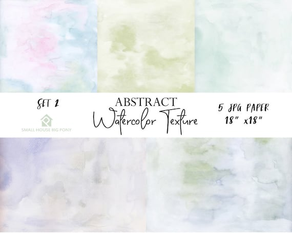 """Watercolor (Abstract) Digital Paper Pack Set 2: """"Watercolor Washes """" background papers in beautiful pastel colors - Commercial Use 18"""" x 18"""""""