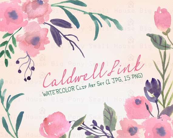 Watercolour Floral Clipart. Handmade, watercolour clipart, wedding diy elements, flowers - Caldwell Pink