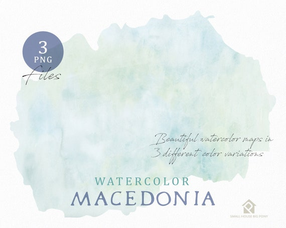 Marcedonia Map, Watercolor Map, Instant Download, Digital Map, Map Clipart, Wall Art, Color Map Clip Art, Custom Map, Watercolor Map