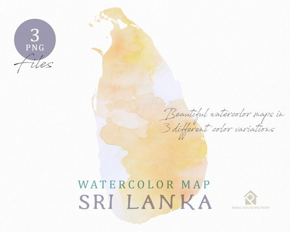 Sri Lanka Map, Watercolor Map, Instant Download, Digital Map, Map Clipart, Wall Art, Color Map Clip Art, Custom Map, Watercolor Map