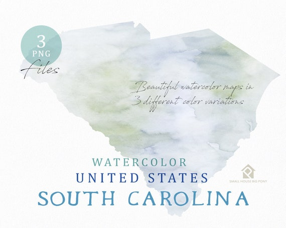 South Carolina Map, Watercolor Map, Digital Map, Map Clipart, Wall Art, Color Map Clip Art, Custom Map, Watercolor Map