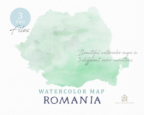 Romania Map, Watercolor Map, Instant Download, Digital Map, Map Clipart, Wall Art, Color Map Clip Art, Custom Map, Watercolor Map