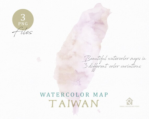 Taiwan Map, Watercolor Map, Instant Download, Digital Map, Map Clipart, Wall Art, Color Map Clip Art, Custom Map, Watercolor Map