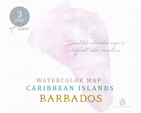 Barbados Map, Watercolor Map, Instant Download, Digital Map, Map Clipart, Wall Art, Color Map Clip Art, Custom Map, Watercolor Map