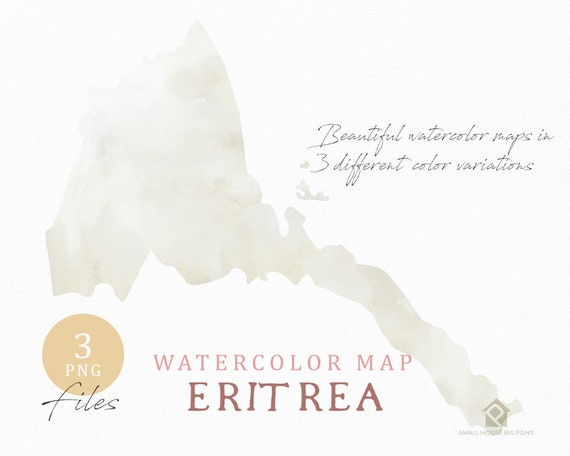 Eritrea Map, Watercolor Map, Instant Download, Digital Map, Map Clipart, Wall Art, Color Map Clip Art, Custom Map, Watercolor Map