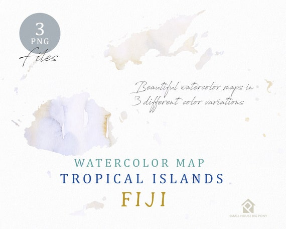 Fiji Map, Watercolor Map, Instant Download, Digital Map, Map Clipart, Wall Art, Color Map Clip Art, Custom Map, Watercolor Map
