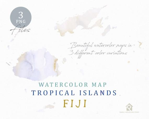 Fiji Map, Watercolor Map, Instant Download, Digital Map, Map Clipart, Wall Art, Color Map Clip Art, Custom Map, Watercolor Map