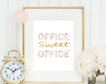 cute office. Plain Cute Office Sweet Wall Art Cute DecorPink And Gold Print  Faux Gold Foil Printable Instant Download On