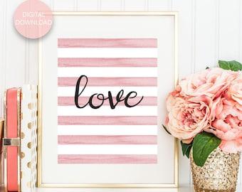 Pink Watercolor Love Print, Love Wall Art, Love Poster, Blush Pink Stripes, Blush Watercolor Art, Printable Wall Art, Digital Download
