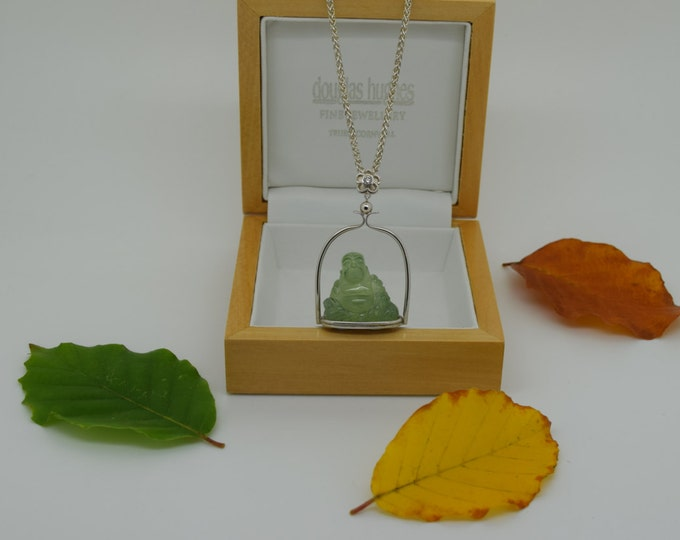 Buddha Pendant - Carved Prehnite Happy Buddha in a Silver Temple with a Diamond set Flower - Handmade Douglas Hughes Design