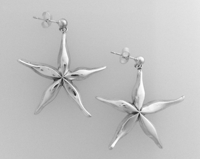 Cornish Star Fish Earrings Handmade by Douglas Hughes
