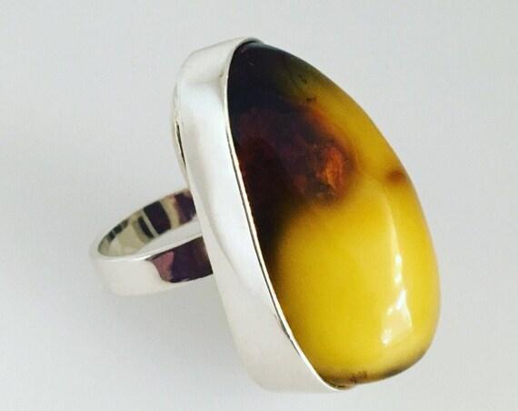 Amber & Silver Ring - Sensational Natural Amber