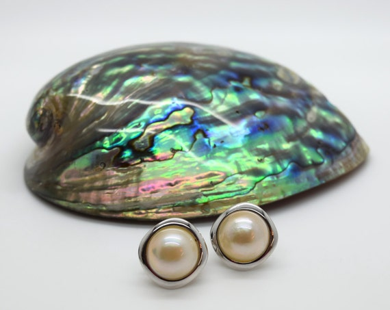 Mabe Pearl Stud Earrings - Douglas Hughes Design