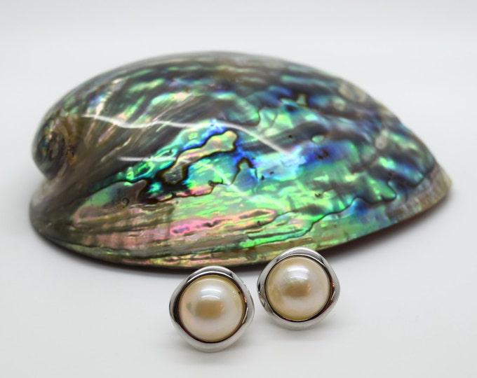 Handmade Mabe Pearl Stud Earrings - Douglas Hughes Design: Mabe Pearl Earrings, Mabe Pearls, Large Pearl Earrings, Mabe Pearl Jewellery