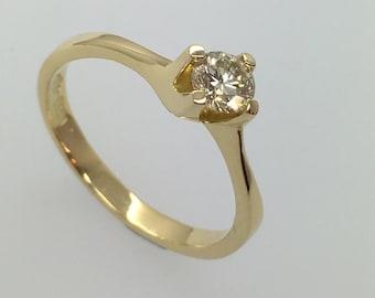 18ct Yellow Gold 0.38ct. Diamond Solitaire Engagement Ring, Handmade Douglas Hughes Design.