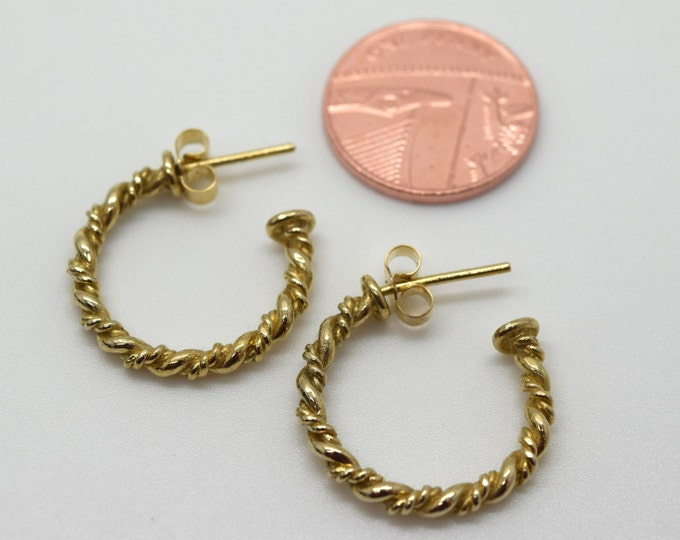 Solid 9ct Gold Double Twist Hoop  Earrings - Handmade Douglas Hughes