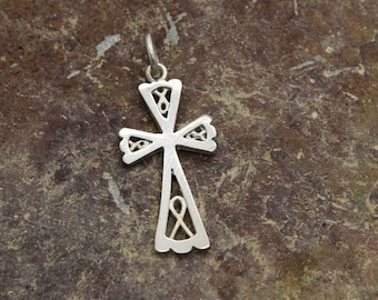 Cornish Celtic Cross: Solid Silver Celtic Verran Cross, Handmade in Cornwall By Douglas Hughes.