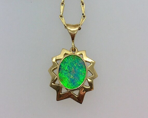 Opal Pendant - 18ct Yellow Gold - Douglas Hughes Star Burst Design set with a Vivid Peacock Blue/Green Australian Opal Doublet