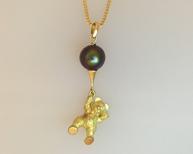 Teddy Bear & Balloon Pendant - Adorable 18ct Yellow Gold Douglas Hughes Teddy Bear with Tahitian Pearl - Handmade Douglas Hughes Design
