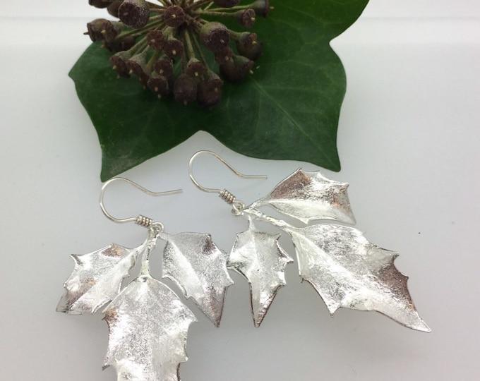 Solid Silver Holly Earrings - Handmade Douglas Hughes Design