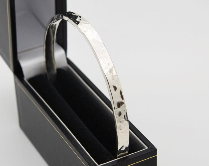 Hammered Solid Silver Bangle (Large/Medium/Fine) - Handmade Douglas Hughes Fine Jewellery