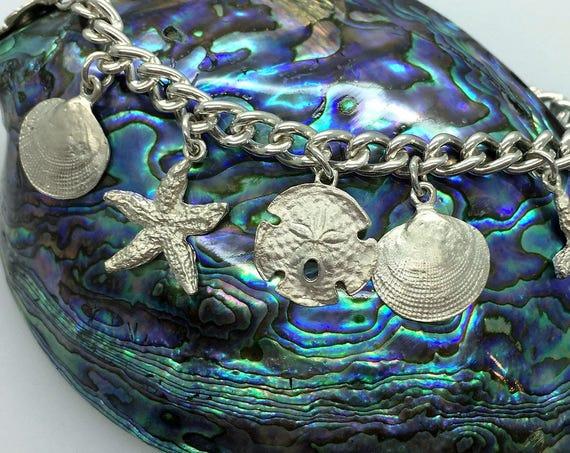 Solid Silver Seashell Charm Bracelet