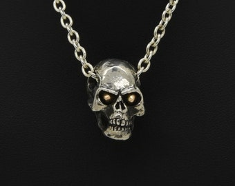 Handmade Silver Skull Necklace With Rose Gold Eyes, Douglas Hughes Design: Skull Pendant, Skull Jewellery, Silver Skull Necklace, Skull Gift