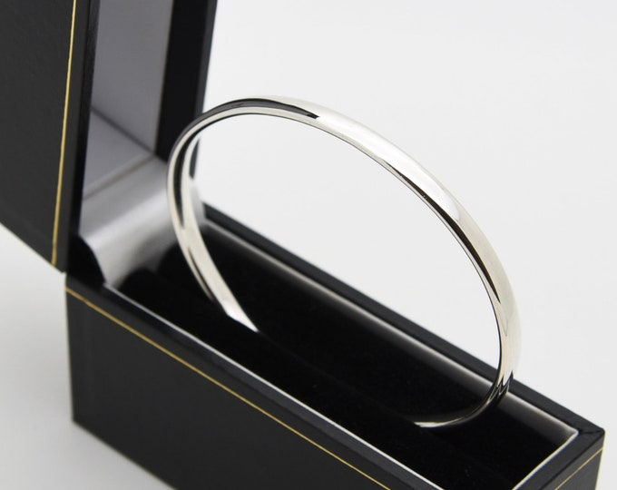 Plain Oval Wire Solid Silver Bangle - Handmade Douglas Hughes Design