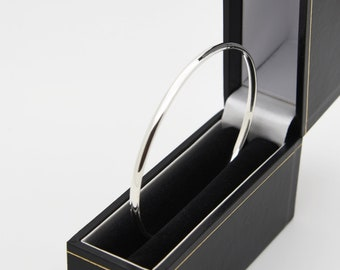 Oval Solid Silver Oval Wire Bangle - Handmade Douglas Hughes Design