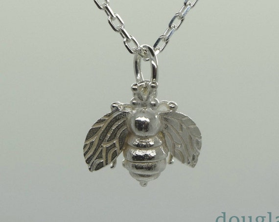 Cornish Honey Bee Pendant, Solid Silver Bee pendant, Handmade by Douglas Hughes