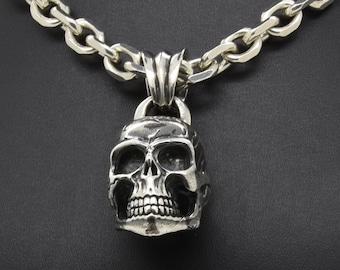 Heavy Silver Skull Necklace, Handmade Douglas Hughes Design: Skull Pendant, Skull Jewellery, Silver Skull Necklace, Heavy Silver Skull