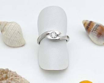 1/4 Carat Diamond set in a Sliver Cresting Wave Ring - Handmade Doug Hughes Design
