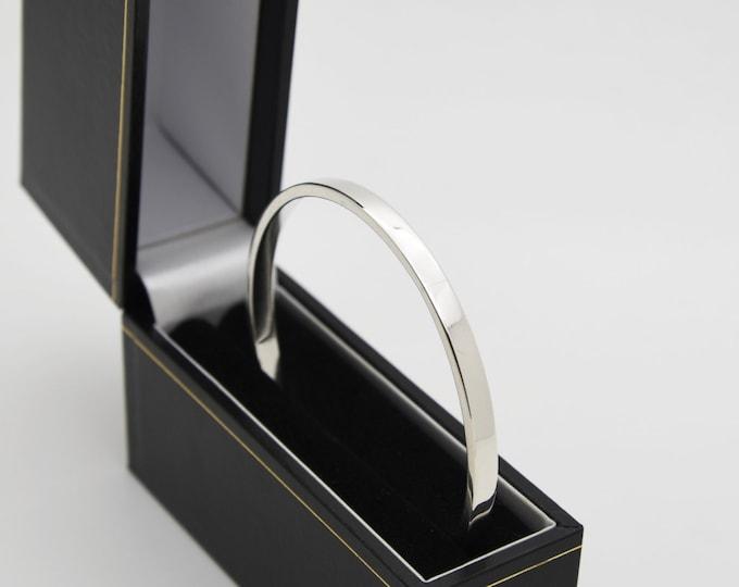 Rectangle Wire Solid Silver Bangle - Handmade Douglas Hughes Design