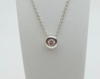 Floating Silver 25pt Diamond Pendant (with complimentary chain) - Handmade Douglas Hughes Design