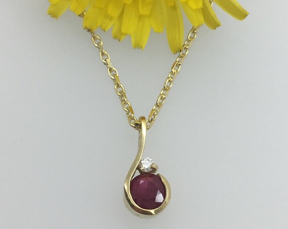Ruby & Diamond Pendant - 18ct Yellow Gold - Douglas Hughes Design