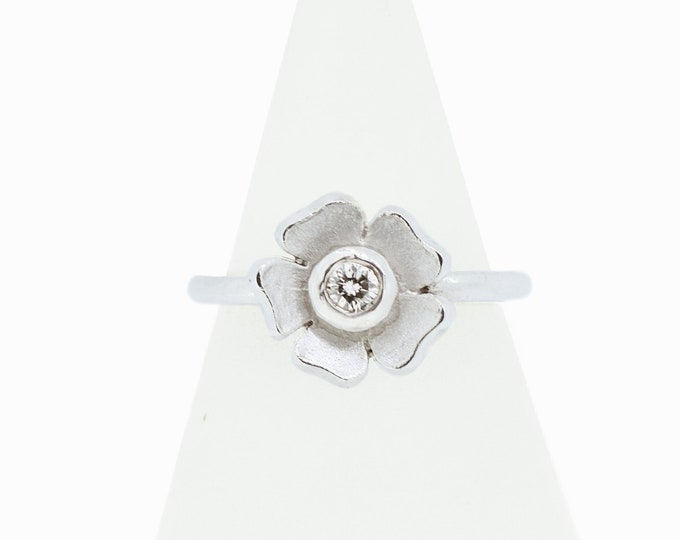 Diamond Silver Flower Ring - Handmade Douglas Hughes Design