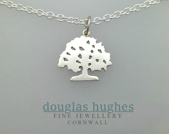 Oak Tree Pendant/Charm – Solid Silver - Handmade by Douglas Hughes