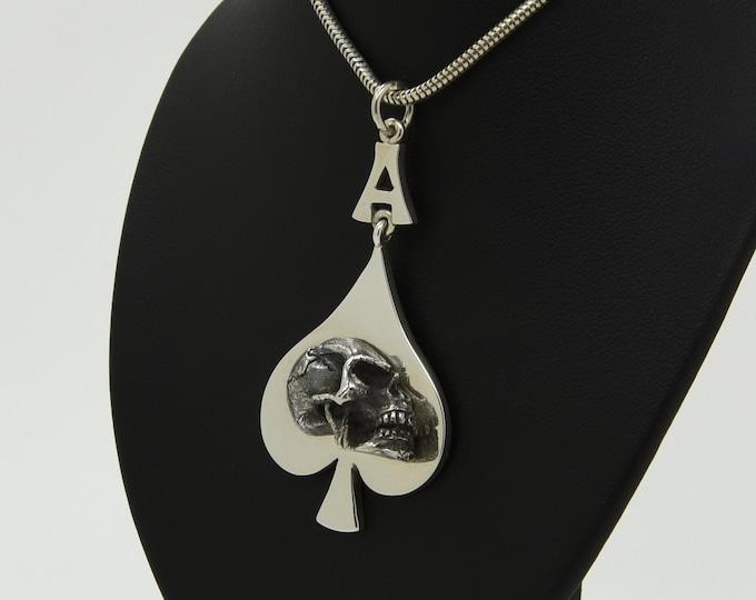 Handmade Silver Ace of Spades Skull Pendant (includes free silver chain), Douglas Hughes Design