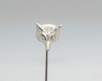 Solid Silver Fox Head Pin, Handmade by Douglas Hughes: Fox Brooch, Fox Pin, Fox Head, Fox Jewellery, Fox Head Brooch, Silver Fox Head