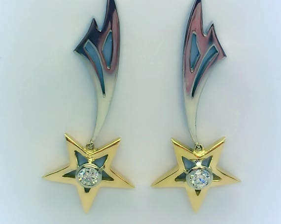 Sparkling Shooting Star Diamond Earrings -  Handmade 18ct Gold