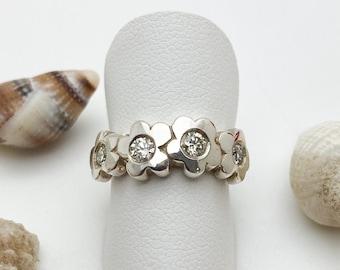 Silver Flower Ring set with a Half Carat of Diamonds - Handmade Douglas Hughes Design