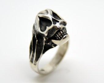 Silver Handmade Sugar Skull Ring, Douglas Hughes Design