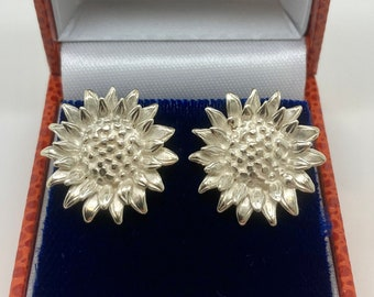 Sterling Silver Sunflower Earrings - Handmade Douglas Hughes Design